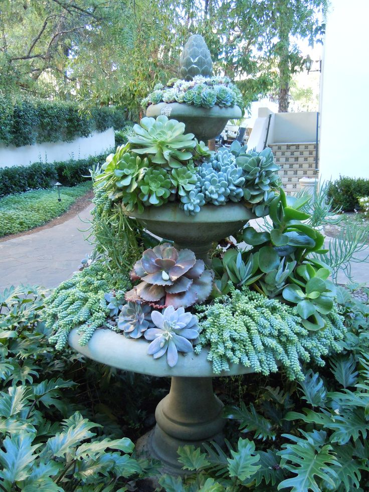 """Very cool, though I dont think Id want succulents.    """"succulent """"fountain"""" imit"""