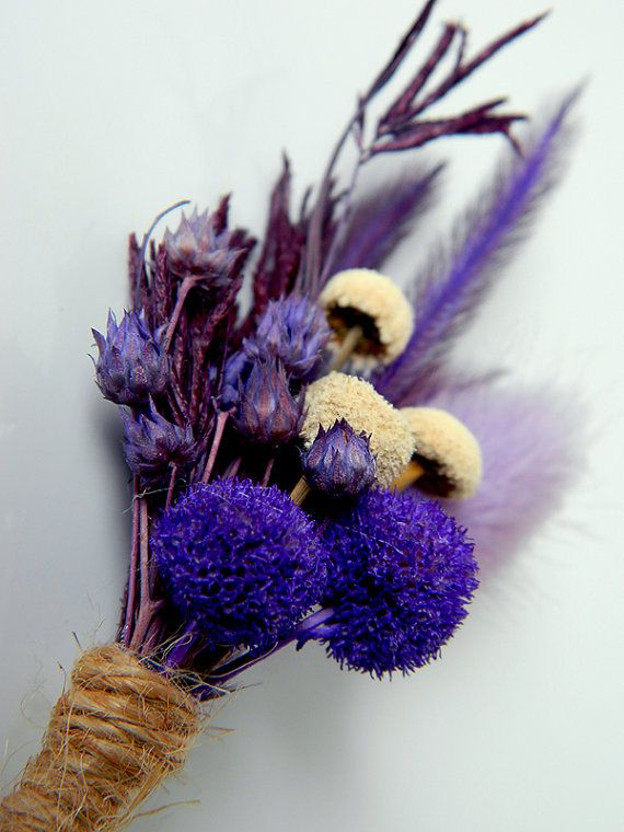 This boutonniere is perfect for your nature themed or purple – cream – forest or