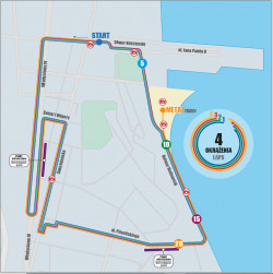 The run route consists of a loop that runners will cover four times.
