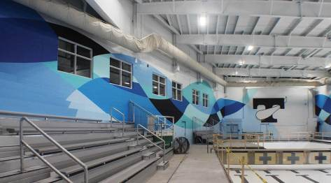 colorfully painted pool walls at Tennessee High School