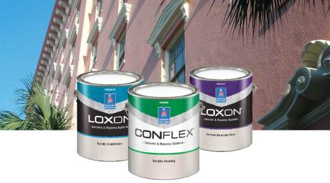 3 cans of Sherwin-Williams masonry paint showing new color coded labels