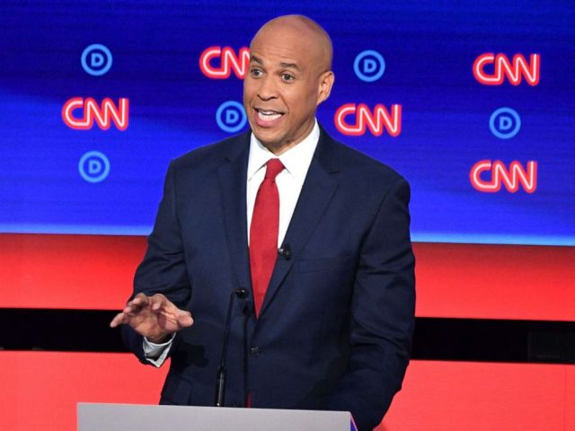 PHOTO: Democratic presidential hopeful Sen. Cory Booker delivers his opening statement during the second round of the second Democratic primary debate in Detroit, July 31, 2019.