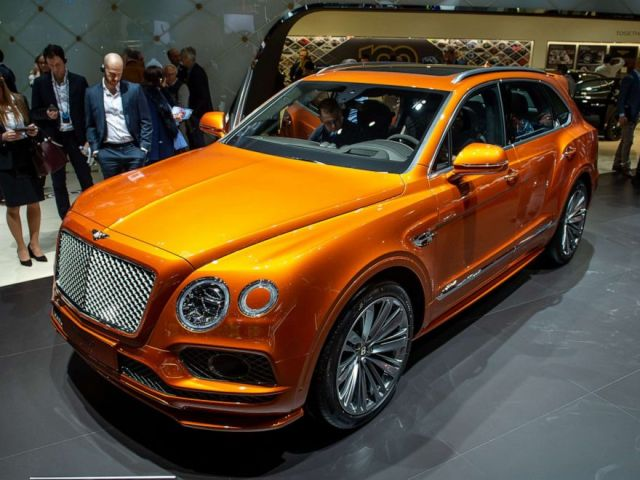 PHOTO: A Bentley Bentayga is displayed during the second press day at the 89th Geneva International Motor Show on March 6, 2019, in Geneva, Switzerland.