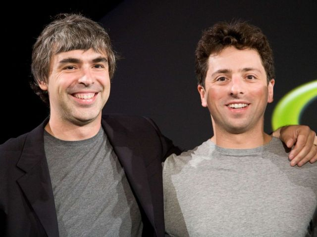 PHOTO: Larry Page and Sergey Brin, the co-founders of Google, appear at a press event in 2008.