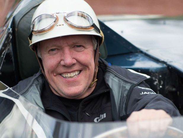 PHOTO: Ian Callum sits in a in Jaguar D-Type in Scotland circa April, 2015.