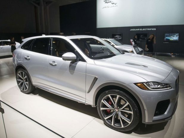 PHOTO: The Jaguar Land Rover Automotive Plc F-Pace SVR crossover vehicle is displayed during the 2018 New York International Auto Show in New York, March 29, 2018.