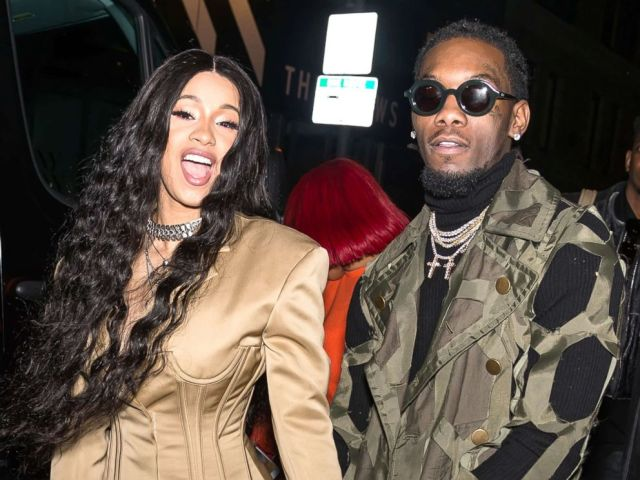 PHOTO: The Cardi B and Offset recording artists of the Migos group are seen leaving the Prabal Gurung fashion show at New York Fashion Week at Spring Studios on February 11, 2018, in New York.