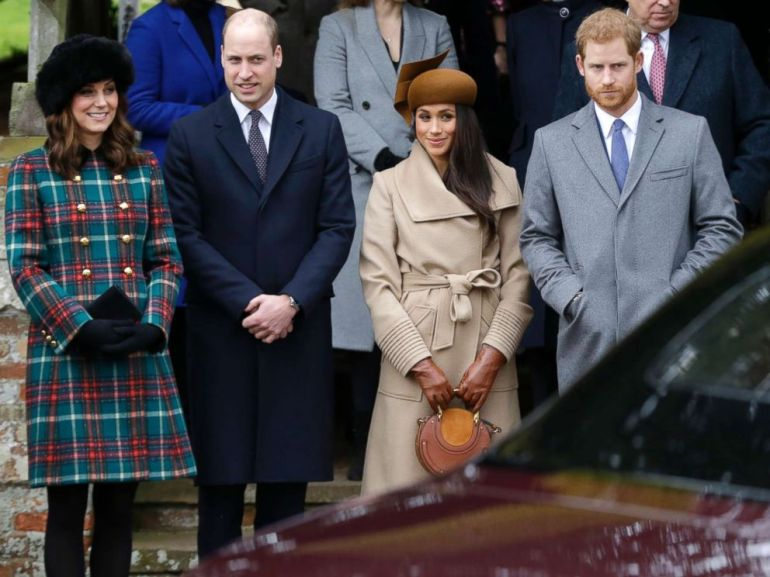 PHOTO: From left, Kate, Duchess of Cambridge, Prince William, Meghan Markle, Prince Harry and Prince Philip arrive to the traditional Christmas Days service, at St. Mary Magdalene Church in Sandringham, England, Dec. 25, 2017.