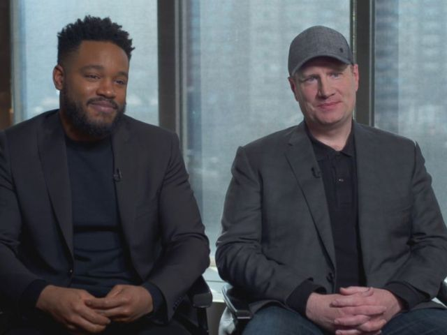 PHOTO: Director Ryan Coogler, and Marvel Studios president Kevin Feige discuss Black Panther.