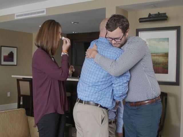 PHOTO: The moment when Sawyer Dyer and his bone marrow donor Kevin Schwarrzel shared a long-awaited hug, was captured on video.
