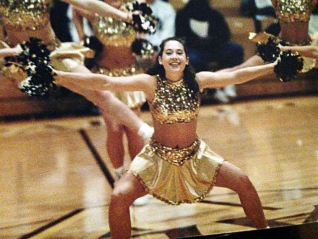 PHOTO: Ginger Zee performing with her college pom squad freshman year.