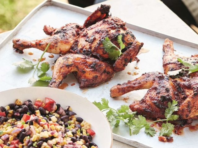 PHOTO: Gordon Ramsays barbecued spatchcocked Cornish game hens with roasted corn salsa.