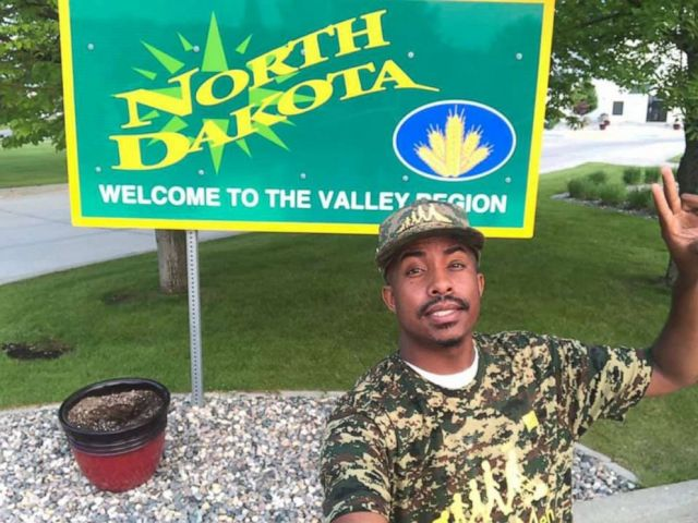 Photo: In this undated photograph, Rodney Smith Jr is pictured in North Dakota traveling to all 50 states to make a free lawn for old soldiers.