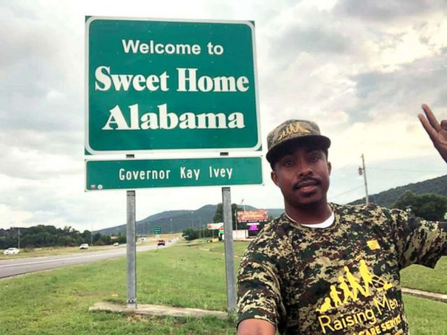 Photo: This undated photograph shows Rodney Smith Jr in Alabama traveling to all 50 states to make a free lawn for veterans.