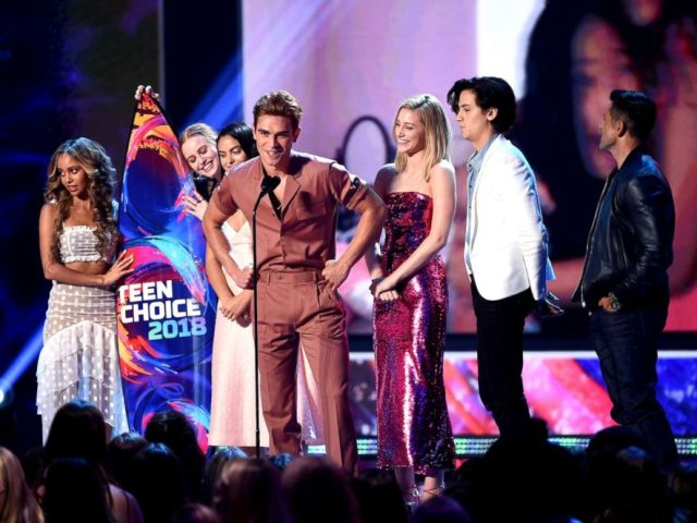 PHOTO: The cast of Riverdale accept the Choice Drama TV Show onstage during FOXs Teen Choice Awards at The Forum, Aug. 12, 2018 in Inglewood, Calif.