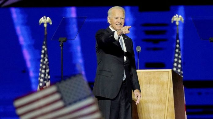 PHOTO: President-elect Joe Biden addresses the nation from the Chase Center in Wilmington, Del., Nov. 7, 2020.