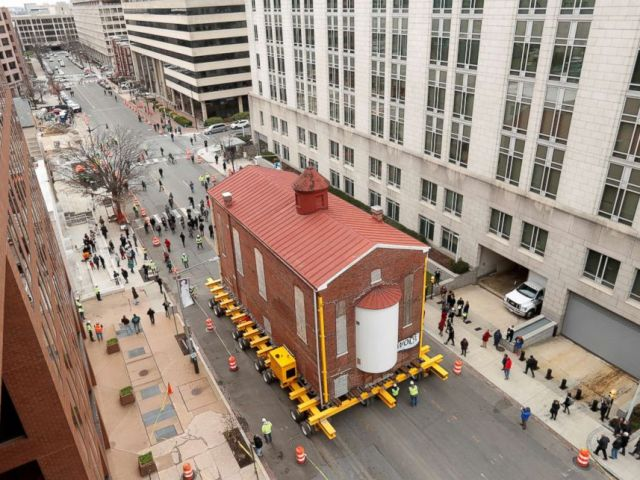 PHOTO: Washingtons first and oldest synagogue, Adas Israel Synagogue, is moved via a remote controlled platform to its new location where it will become be the cornerstone of the Capital Jewish Museum on 3rd St. NW in Washington, DC, Jan. 9, 2019.