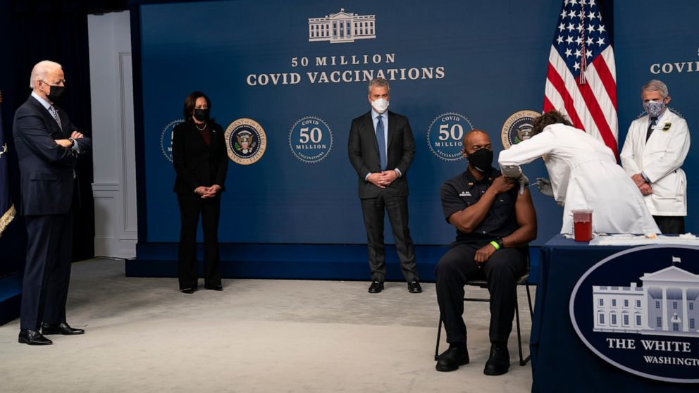 Biden marks 50M vaccine doses in the first 5 weeks in the office