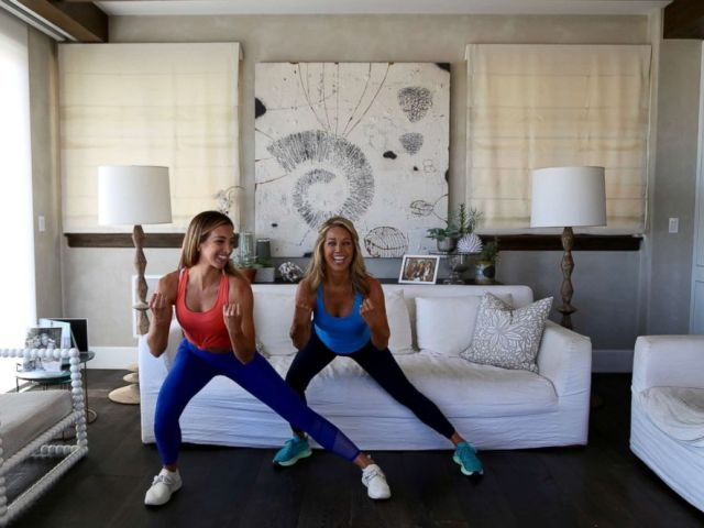 PHOTO: Katie Austin and Denise Austin demonstrate a side lunge.