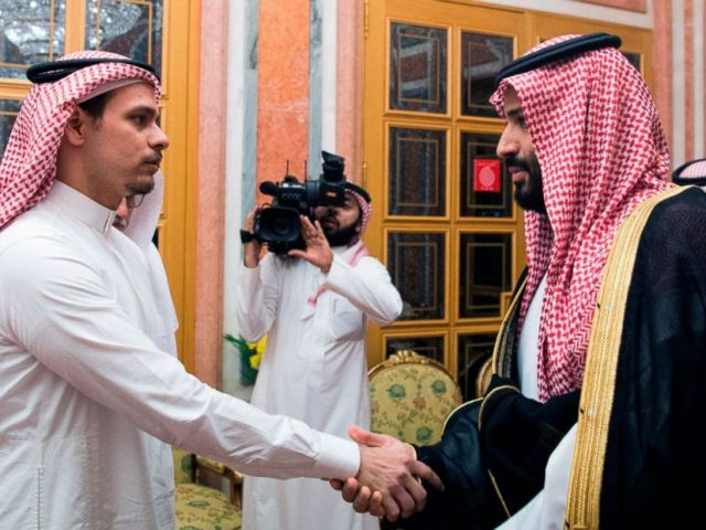 PHOTO: Saudi Crown Prince Mohammed bin Salman, right, shakes hands with Salah Khashoggi, a son, of Jamal Khashoggi, in Riyadh, Saudi Arabia, Oct. 23, 2018.