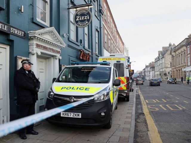 PHOTO: A policeman stands outside the Zizzi restaurant in Salisbury, England, March 7, 2018, near the area where former Russian double agent Sergei Skripal was found critically ill.