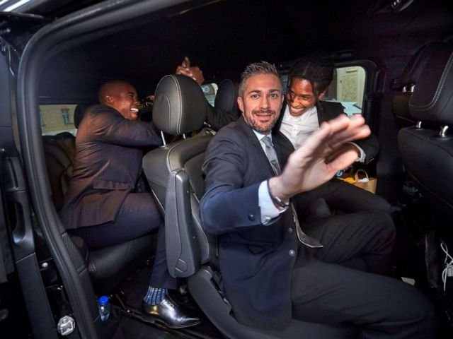 PHOTO: Rapper ASAP Rocky, right, celebrates while leaving the district court in his car after the third day of the rappers trial over a June street brawl on Friday, Aug. 2, 2019 in Stockholm.