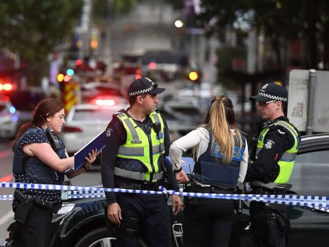 PHOTO: Police work at the crime scene following a stabbing incident in Melbourne, Australia, Nov. 9, 2018.