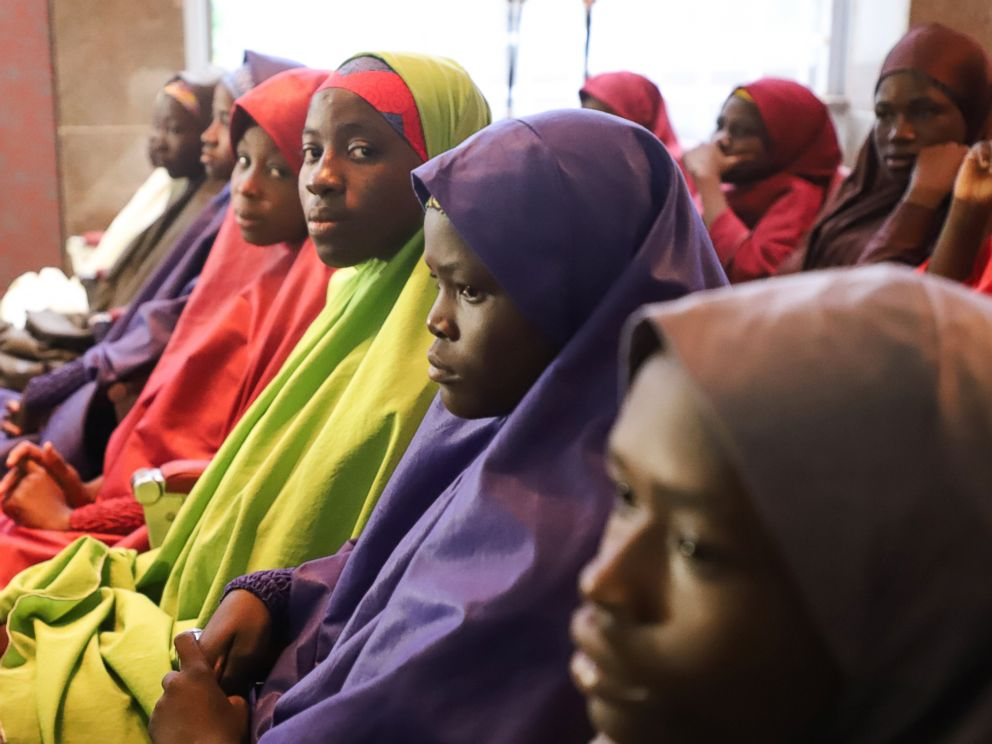 PHOTO: Released Nigerian school girls who were kidnapped from their school in Dapchi, in the northeastern state of Yobe, wait to meet the Nigerian president at the Presidential Villa in Abuja on March 23, 2018.