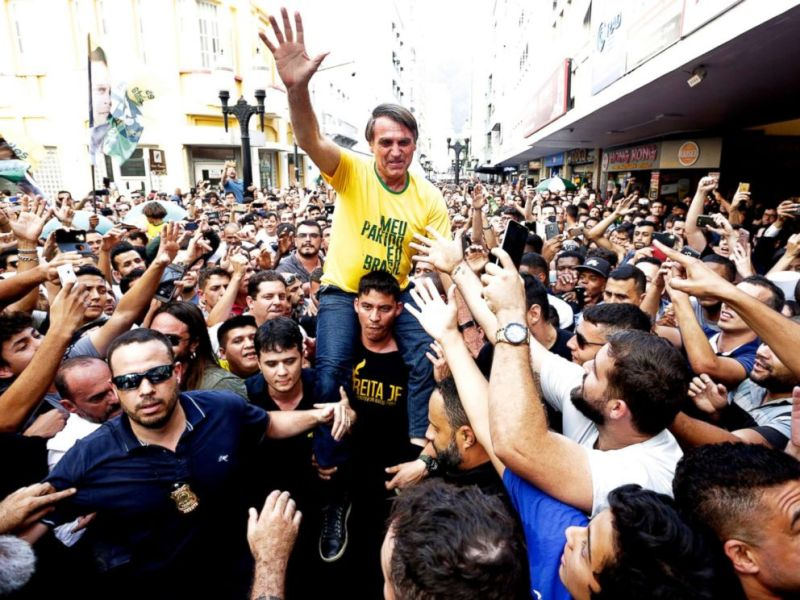 Far right candidate stabbed at campaign event in Brazil   ABC News PHOTO  Presidential candidate Jair Bolsonaro is taken on the shoulders of a  supporter moments before
