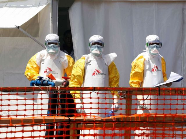 PHOTO: Health workers dressed in protective suits are seen at the newly constructed MSF(Doctors Without Borders) Ebola treatment center in Goma, Democratic Republic of Congo, Aug. 4, 2019.