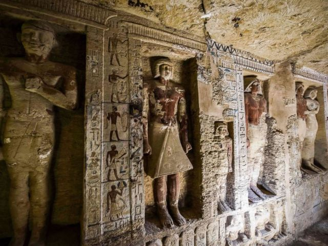 PHOTO: A view of a newly-discovered tomb belonging to the high priest Wahtye who served during the fifth dynasty reign of King Neferirkare at the Saqqara necropolis, south of the Egyptian capital Cairo, Dec. 15, 2018.