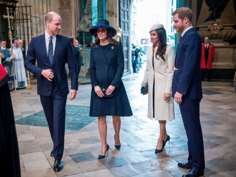 PHOTO: From left, Britains Prince William, Catherine, Duchess of Cambridge, Meghan Markle and Britains Prince Harry attend a Commonwealth Day Service at Westminster Abbey in central London, on March 12, 2018.