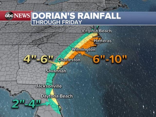 PHOTO: Hurricane Dorian rainfall through Friday map.