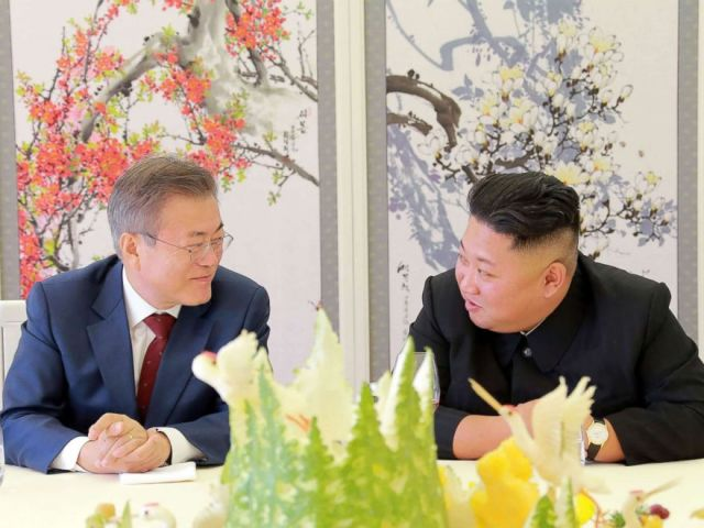 PHOTO: North Koreas leader Kim Jong Un talks to South Korean President Moon Jae-in during a visit to Samjiyon guesthouse near Mount Paektu in Samjiyon in this picture taken Sept. 20, 2018, and released by Korean Central News Agency (KCNA) via KNS.