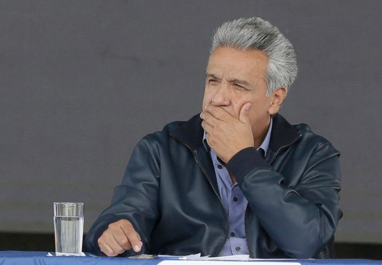 "Ecuador's President Lenin Moreno attends the inauguration of the ""Agua Para Todos"" or ""Water for Everyone"" government program, in Latacunga, Ecuador, April 11, 2019."