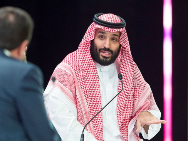 PHOTO: A handout picture provided by the Saudi Royal Palace on Oct. 24, 2018, shows Saudi Crown Prince Mohammed bin Salman speaking during a joint session of the Future Investment Initiative (FII) conference in the capital Riyadh.