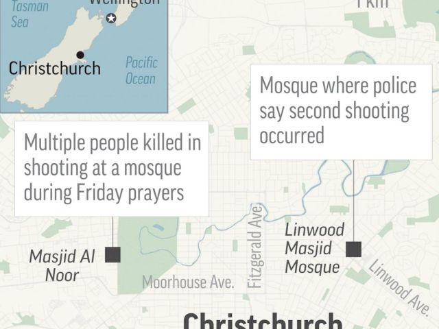 PHOTO: A map shows the location of two shootings in Christchurch, New Zealand, on Friday, March 15, 2019.