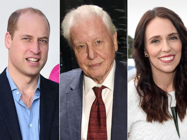 PHOTO: From left, Prince William, Duke of Cambridge, Sir David Attenborough, and New Zealand Prime Minister Jacinda Arden are planning to attend the 2019 World Economic Forum in Davos, Switzerland.