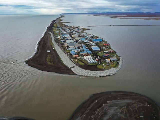 PHOTO: An aerial view from a drone shows Kivalina, which sits at the very end of an eight-mile barrier reef located between a lagoon and the Chukchi Sea on September 10, 2019, in Kivalina, Alaska.