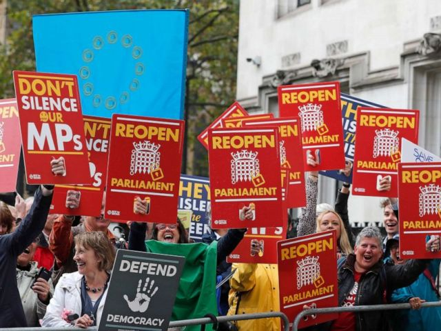 PHOTO: Anti-Brexit supporters react as they gather outside the Supreme Court in London, Sept. 24, 2019 as it makes its decision on the legality of Prime Minister Boris Johnsons five-week suspension of Parliament.
