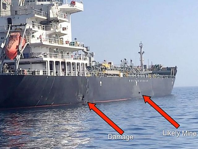 PHOTO: This handout powerpoint slide provided by U.S. Central Command damage shows an explosion and a likely limpet mine can be seen on the hull of the civilian vessel M/V Kokuka Courageous in the Gulf of Oman, June 13, 2019.