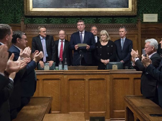 PHOTO: Sir Graham Brady, center, chairman of the 1922 Committee, announces that Theresa May has survived an attempt by Tory MPs to oust her as party leader at the Houses of Parliament in London, Dec. 12, 2018.