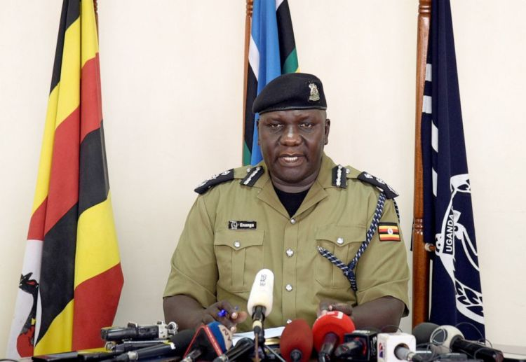 Uganda's police spokesperson Fred Enanga addresses the media on the rescue of American tourist Kimberley Sue Endecott, who was abducted by gunmen in Queen Elizabeth National Park, at the police headquarters in Kampala, Uganda, April 8, 2019.