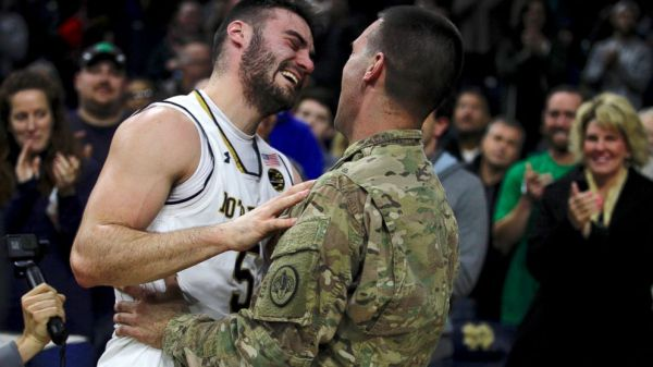 Basketball Player's Surprise Court Reunion With Soldier ...