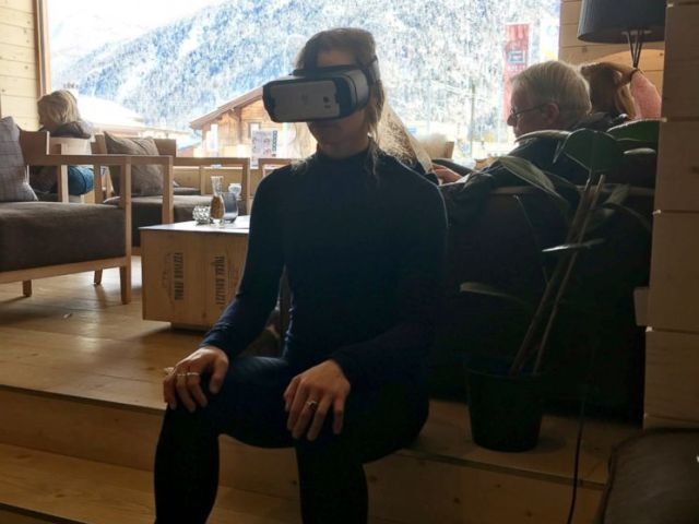 PHOTO: U.S. Olympic Alpine ski racer Laurenne Ross uses virtual reality technology to help train for competitions.