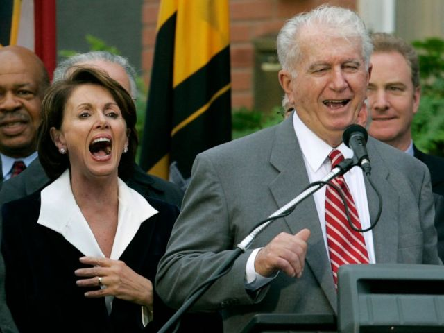 PHOTO: Speaker of the House Nancy Pelosi, D-Calif., left, laughs as her brother Thomas D Alesandro III, right, makes a joke as he introduces her husband Paul, during a street renaming ceremony in her behalf, in Baltimore, Jan. 5, 2007.