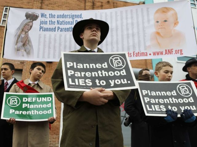 PHOTO: Anti-abortion protesters gather at a demonstration outside a Planned Parenthood office, Feb. 11, 2017 in Washington, D.C.