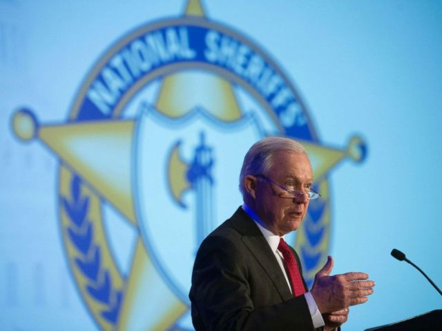 PHOTO: Attorney General Jeff Sessions addresses the National Sheriffs Association Winter Conference on law enforcement efforts to combat the opioid crisis and violent crime, in Washington, D.C., Feb. 12, 2018.