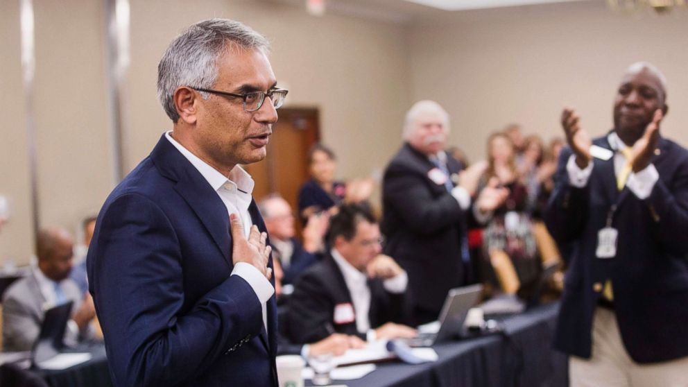 Dr. Shahid Shafi speaks before members of the State Republican Executive Committee, following a vote in favor of resolution that opposes an effort by the Tarrant County Republican Party (TCRP) to remove him as vice chair because of his religion, during the committee's quarterly meeting, Dec. 1, 2018, in Austin, Texas.