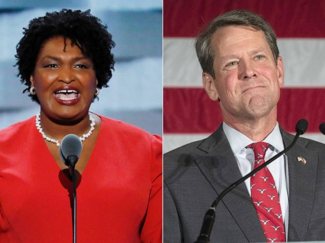 PHOTO: Stacey Abrams, left, and Brian Kemp.